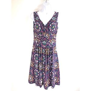 Lands End Sleeveless Fit n Flare Dress Navy  XS